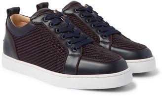 Christian Louboutin Rantulow Orlato Leather And Raffia Sneakers
