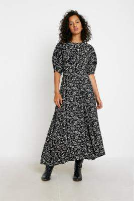 Free People Jessie Floral Maxi Dress - black UK 6 at Urban Outfitters