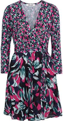 Diane von Furstenberg Irina Floral-print Silk-blend Jersey And Fil Coupe Chiffon Mini Wrap Dress