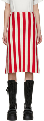Sunnei Red and Off-White Striped Skirt