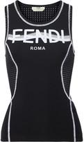 Fendi Perforated Coated Stretch Tank - Black
