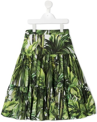 Dolce & Gabbana Kids Palm Print Tiered Skirt