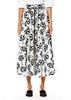 Carolina Herrera Café Umbrella Midi Skirt, Black/White