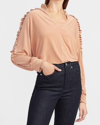 Express Satin Ruffle Sleeve V-Neck Top