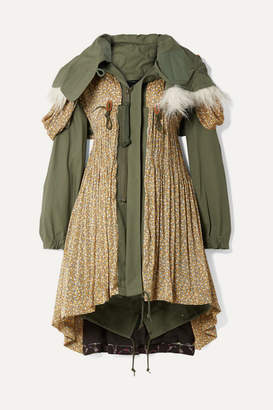 Junya Watanabe Faux Fur-trimmed Cotton-blend Canvas And Floral-print Satin-jacquard Coat - Army green