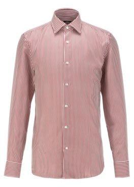 HUGO BOSS Slim-fit shirt in stripe-print silk twill