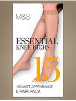 M&S Collection 5 Pair Pack 15 Denier Matt Knee Highs