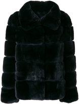 Yves Salomon wide collar coat - women - Silk/Rabbit Fur - 38