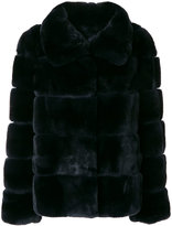 Yves Salomon wide collar coat - women - Silk/Rabbit Fur - 40