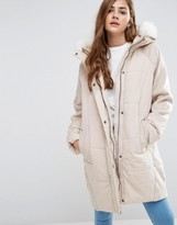 Asos Wool Parka with Padded Front