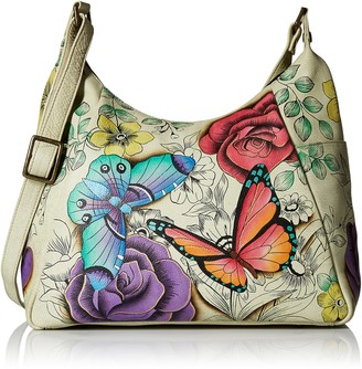 Anna By Anuschka Hand Painted Leather Women's Multi Pocket HOBO
