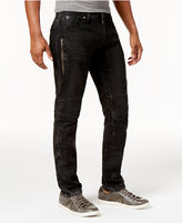 GUESS Men's Slim-Tapered Fit Binary Black Moto Jeans
