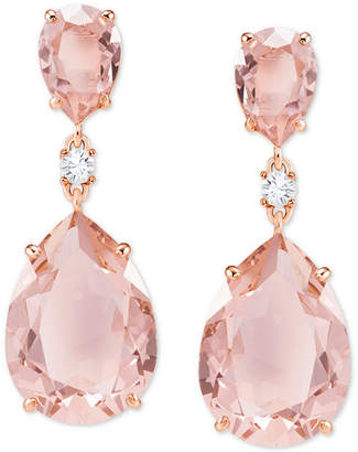 Swarovski Rose Gold-Tone Crystal Drop Earrings