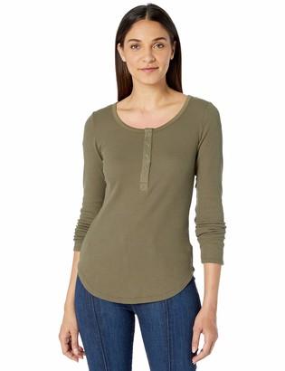 William Rast Women's Kairah Snap Front Henley Long Sleeve Tee Shirt