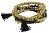 Women's 5 PC Stretch Bracelet - Worn Gold/Jet