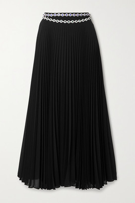 Christopher Kane Crystal-embellished Pleated Crepe Midi Skirt - Black