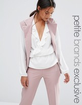 Alter Petite Sleeveless Longline Soft Pajama Blazer With Contrast Piping