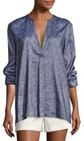 Theory Ofeliah Tierra Wash Pleated Tunic Top, Blue
