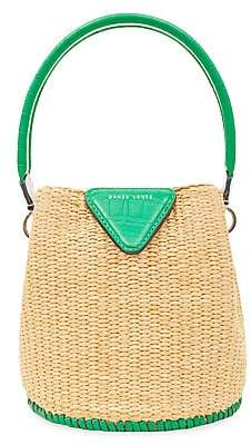 Danse Lente Women's Extra-Small Josh Leather-Trimmed Raffia Bucket Bag