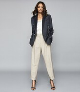 Reiss Astrid - Wool Blend Double Breasted Blazer in Navy