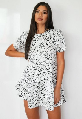 Missguided Petite White Dalmatian Print Tiered Smock Dress
