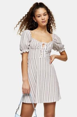 Topshop Textured Stripe Mini Tea Dress