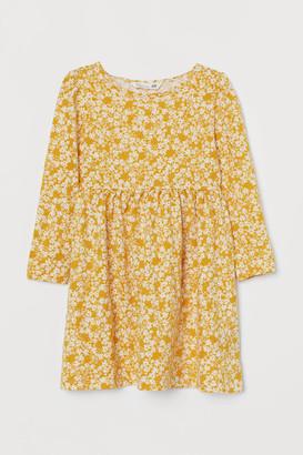 H&M Patterned Jersey Dress - Yellow