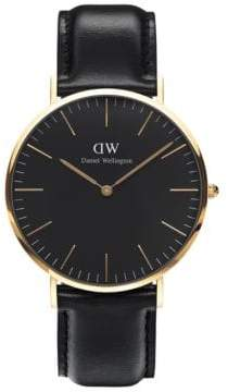 Daniel Wellington Classic Black Sheffield Rose Gold and Leather Strap Watch, 40mm