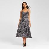 Who What Wear Women's Knit Skater Maxi Dress Black Floral