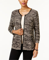 JM Collection Marled Faux-Leather-Trim Cardigan, Only at Macy's