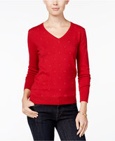 Tommy Hilfiger Ivy Embellished V-Neck Sweater, Only at Macy's