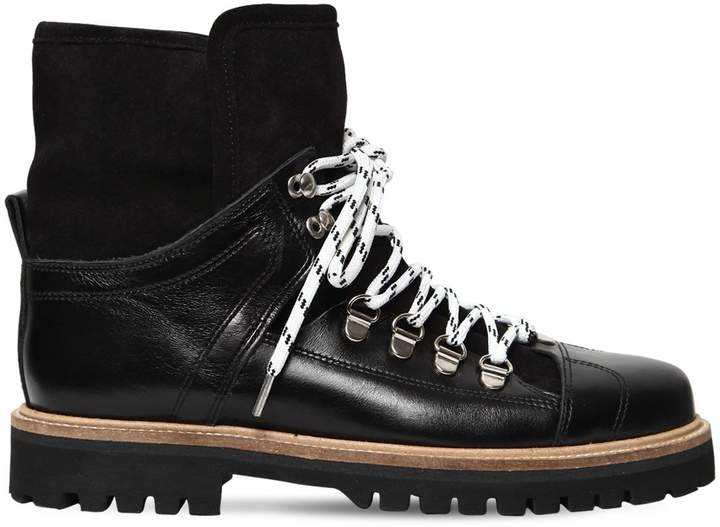 Ganni 20mm Edna Leather & Shearling Boots