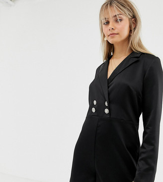 Reclaimed Vintage inspired tux playsuit with vintage button detail-Black