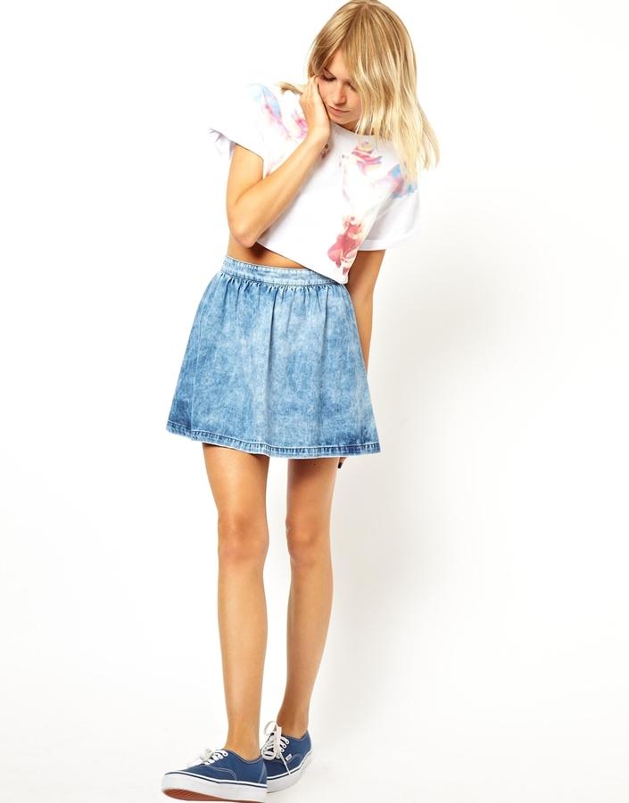 Asos Denim Skater Skirt in Acid Wash