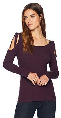 Cable Stitch Women's Cold Shoulder Rib-Knit Sweater