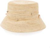 Sensi Studio Embellished Straw Bucket Hat