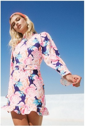 Paper Dolls Kelsey Navy Peony Floral-Print Puff Sleeve Belted Mini Dress - DO NOT MAKE LIVE - NEED BELTS
