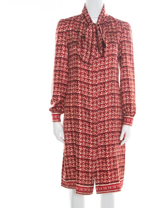 Carolina Herrera Red Abstract Printed Silk Button Front Tunic Dress S