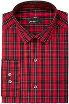 Bar III Men's Slim-Fit Stretch Easy-Care Red Black Macleod Dress Tartan Dress Shirt, Created for Macy's