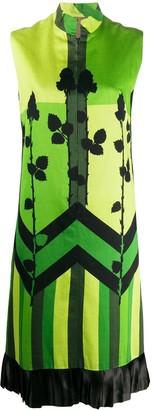 1960s Colour Block Floral Print Dress