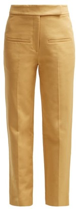 KHAITE Coco Cropped Cotton-twill Trousers - Womens - Beige