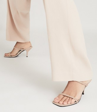 Reiss Magda - Leather Strappy Heeled Sandals in Nude