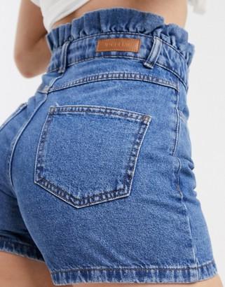 JDY paper bag waist shorts in blue