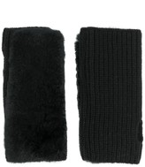 Yves Salomon Cashmere Rabbit Fur Fingerless Gloves