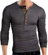 Pishon Men's Henley Shirt Long Sleeve Slim Fit Plain Button Cotton Casual Shirts
