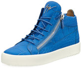 Giuseppe Zanotti Men's Crocodile-Embossed Leather Mid-Top Sneaker, Blue