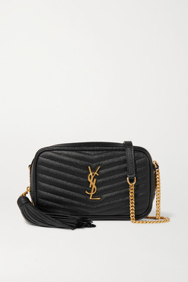 Saint Laurent Lou Mini Quilted Textured-leather Shoulder Bag - Black