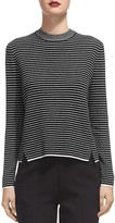 Whistles Striped Notched-Hem Knit Top