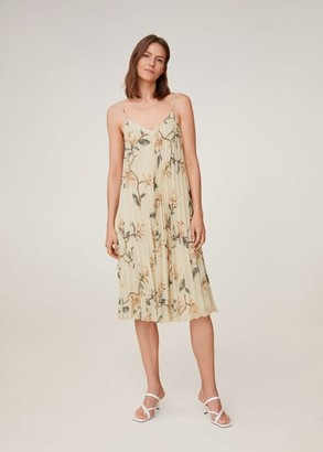 MANGO Pleated floral dress off white - 2 - Women