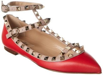 Valentino Rockstud Caged Leather Ankle Strap Ballet Flat
